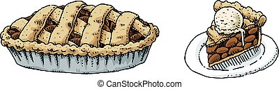 Apple Pie - A cartoon of a full apple pie and a slice on a...