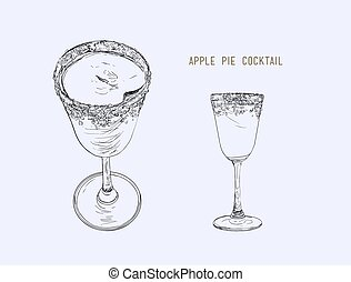 Apple pie cocktail Hand drawn sketch line art , illustraion...