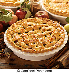 Apple pie decorated with lattice, fall baking concept