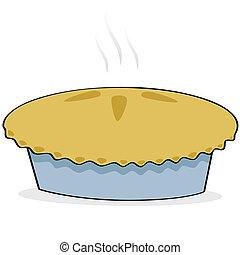 Apple pie - Cartoon illustration of a freshly baked apple...