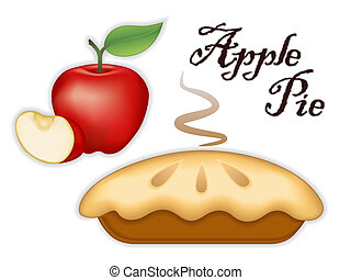 Apple Pie - Traditional fresh baked steaming Apple Pie, ripe...