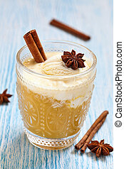 Apple pie flavor cocktail with spices and vanilla ice cream