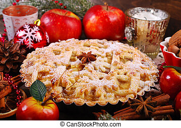 apple pie for christmas - traditional apple pie with ...