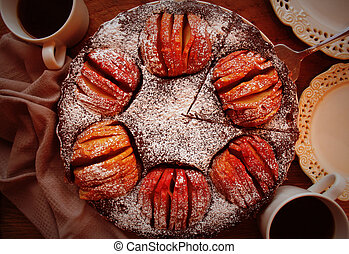 Apple pie, fruit dessert, tart on wooden rustic table. Top view, christmas background