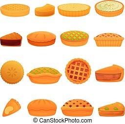 Apple pie icons set, cartoon style
