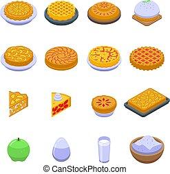 Apple pie icons set, isometric style
