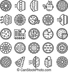 Apple pie icons set, outline style