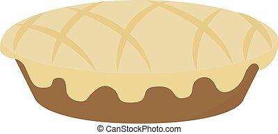 Apple pie, illustration, vector on white background.