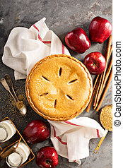 Apple pie in a wooden crate