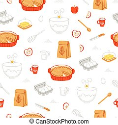 Apple pie ingredients pattern - Apple pie ingredients...