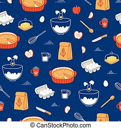 Apple pie ingredients pattern on blue background - Apple pie...