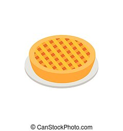 Apple pie isometric 3d icon on white background