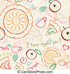 Apple Pie Line Art Pattern - Seamless line art pattern with...
