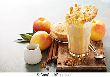 Apple pie milkshake with caramel syrup