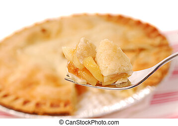 Apple pie on a fork