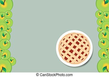 Apple pie on the white plate. The edges of the vector are...