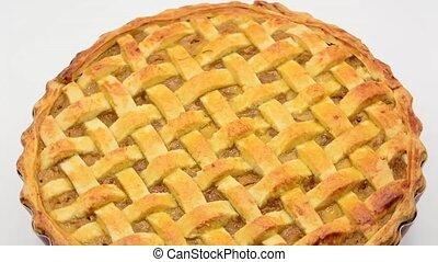 Apple pie on white background footage