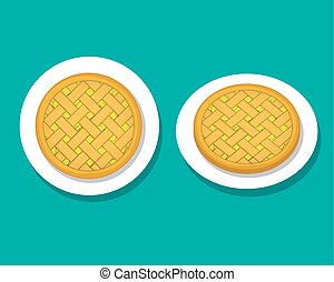 Apple pie on white plate, top view, vector