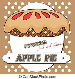 apple pie poster - Vintage poster with retro style apple pie