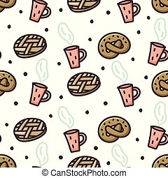 Apple pie, pretzel and coffee doodle seamless pattern. Stock...