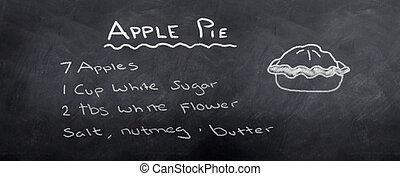 Apple Pie Recipe - Apple pic recipe Written in chalk on a...