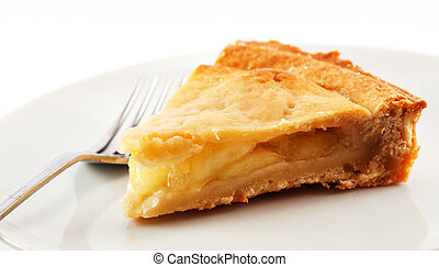 Apple pie slice - A slice of apple pie on a white plate