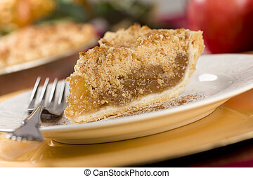 Apple Pie Slice with Crumb Topping and Fork.