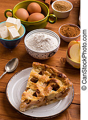 apple pie slice with ingredients