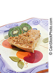 Apple pie slice with kiwi