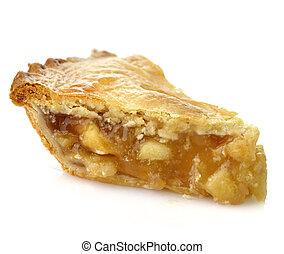 Apple Pie - A Slice Of Apple Pie On White Background ,Close...