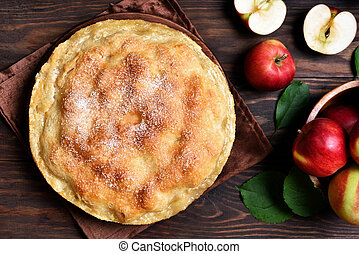 Apple pie, top view