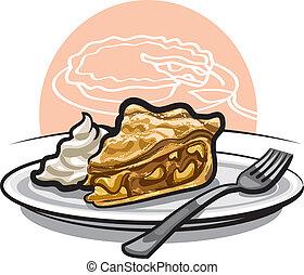 apple pie - piece of apple pie with sour cream