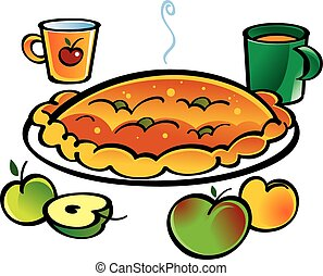 Apple Pie - Aplle pie and two cups with juice