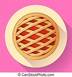 Apple Pie vector icon Flat designed style.