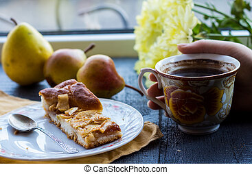 apple pie with a cup of coffee, breakfast