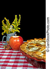 apple pie with candle
