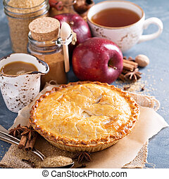 Apple pie with caramel syrup and cinnamon - Apple pie with...