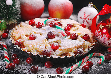 apple pie with cranberry for christmas in winter scenery