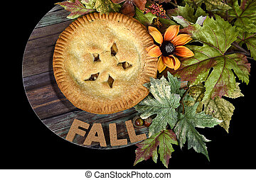 apple pie with fall leaves