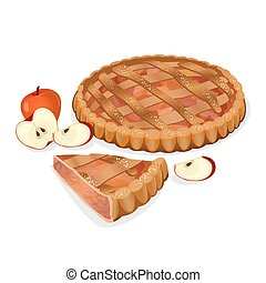 Apple pie with fruits, cut slice isolated. Traditional...