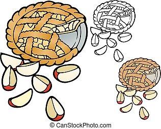 apple pie with lattice crust - Illustration of apple pie, ...
