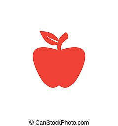 Apple Red Icon On White Background. Red Flat Style Vector Illustration.
