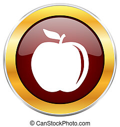 Apple red web icon with golden border isolated on white background. Round glossy button.