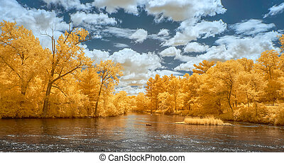 Panorma of Apple River in Amery, Wisconsin in infrared color.