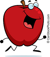 A happy cartoon apple running and smiling.