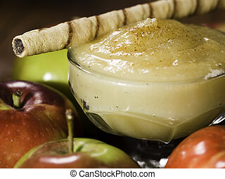apple sauce with rolled wafer - apple sauce dessert (stewed ...