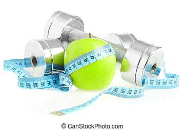 apple., saudável, vida, dumbbells, maneira