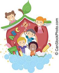Apple School - Illustration of Kids Playing in an Apple-...