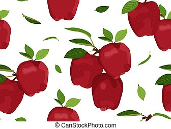 Apple seamless pattern with leaves on a white background. Red apples fruits vector illustration.