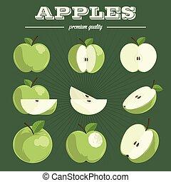 Apple set. Hand drawn apples.